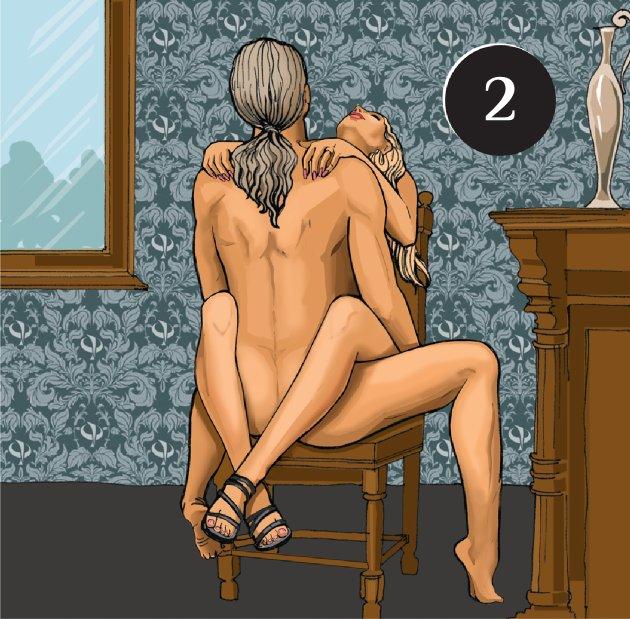 Секс на столе и на стуле