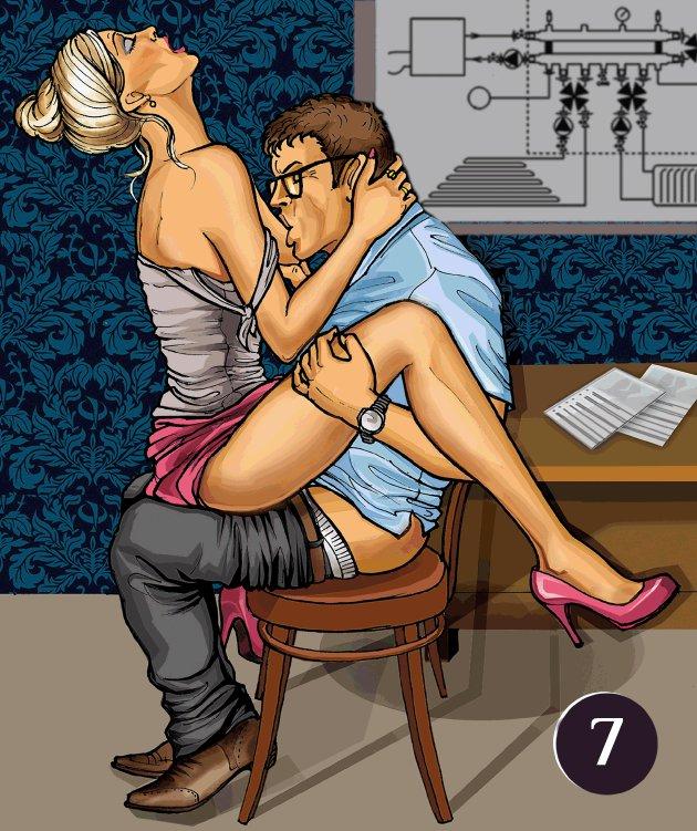 Секс позы с использованием мебели
